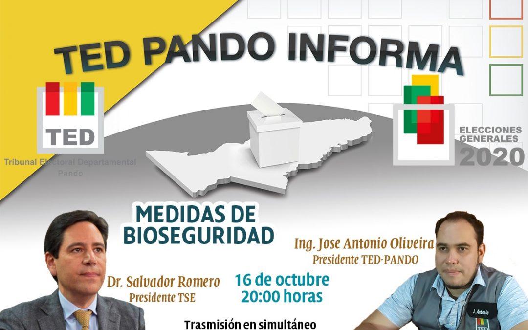 """Los presidentes del TSE y del TED Pando participan en el programa """"TED Pando Informa"""", hoy a las 20:00"""